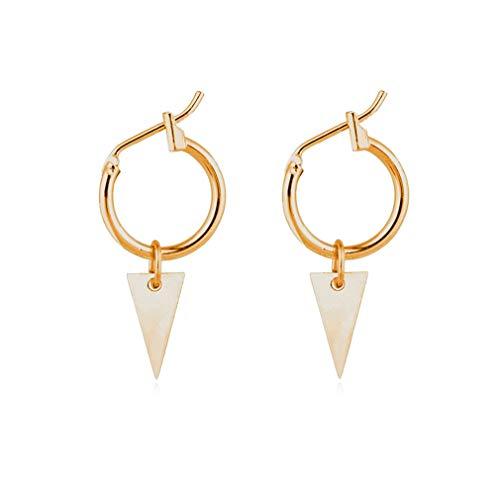 LnLyin Einfache Anhänger Ohrringe, Einfache Geometrische Kreis Creolen mit Kleinen Dreieck Anhänger Ohrringe Modeschmuck Ohrringe für Frauen Mädchen Geschenke, Gold