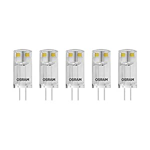 Osram LED Base Pin G4 12 V / Lampe, G4, 1, 80 W, 20-W-Ersatz - für, klar, Warm White, 2700 K, 5 - er-Pack