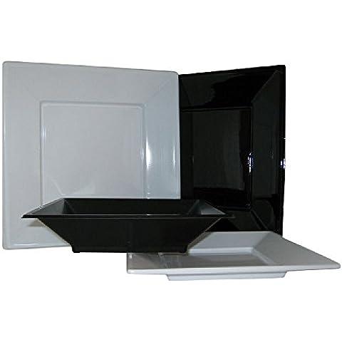 16 Square Plastic Disposable Party Plates 23cm ~ Choice of colour (Black)