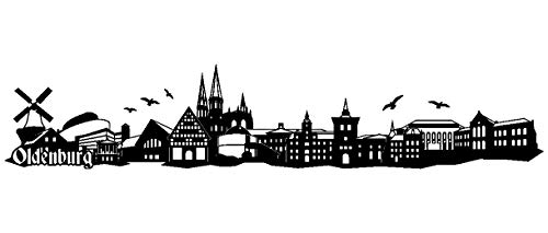 Samunshi® Wandtattoo Oldenburg Skyline Wandaufkleber in 6 Größen und 19 Farben (70x13,6cm schwarz)