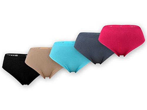 sockenkauf24 5 oder 10 Damen Slips Microfaser im bunten Farbmix, in schwarz oder Weiß (XXL = 48/50, 5 Stück | Farbmix)