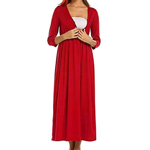 Robe Femmes, Toamen Manches trois quarts Mode Col en V Robe de grossesse Couleur unie Automne et hiver (M, rouge)