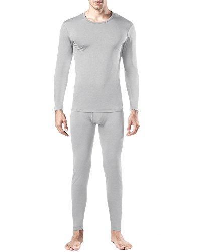Lapasa Herren Thermounterwäsche Set (Hemd+ Hose), Warm, Weich, Dehnbar, und Luftig, Perfekte Funktionsunterwäsche Herren für Winter (XL, Leicht Heidegrau)