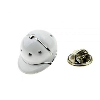 Ashton and Finch Weiße Emaille & Metall Polo Reitsport Reiter Cap Helm Revers Anstecknadel