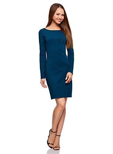 oodji Ultra Damen Enges Jersey-Kleid, Blau, DE 42 / EU 44 / XL