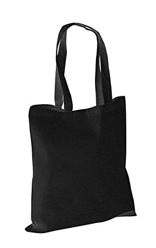Confezione di 10-100% cotone a tracolla in tela, borsa per la spesa, Shopper bags bianco nero