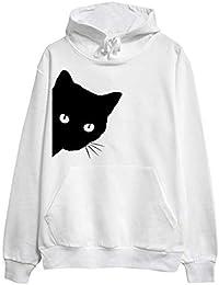 2a052ca88892e Innerternet Femme Pull Chat Imprimé Casual Automne Manches Longues Sweat à  Capuche Casual Pullover Sweatshirt