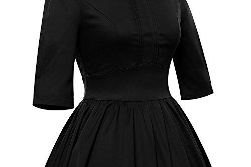 LUOUSE Vintage années 50 's Style Audrey Hepburn Rockabilly Swing, Robe de soirée cocktail Noir