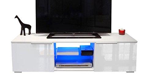 Berlioz Creations Studio Meuble TV avec LED Panneaux de Particules Blanc 140 x 40 x 37 cm