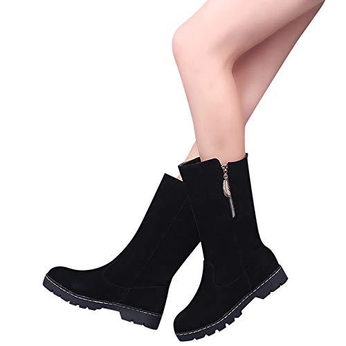 TianWlio Boots Stiefel Schuhe Stiefeletten Frauen Herbst Winter Flache Stiefel Runder Zeh Reißverschluss Schneestiefel Klassischer Knöchel Lässige Schuhe Stiefel Weihnachten Schwarz 37