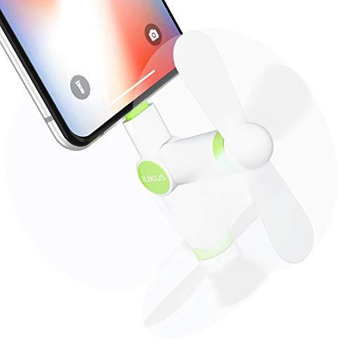 iUKUS Mini-Ventilator für Handys, [180° drehbar], tragbarer Mini-Kühler, Handy-Ventilator, kompatibel mit iPhone XS/XR/X/8/8+/7/7+/6, iPad, iPod weiß