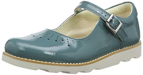 Teal Patent Schuhe (Clarks Mädchen Crown Jump K Slipper, Blau (Teal Leather), 32.5 EU)
