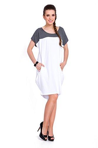 FUTURO FASHION Damen Kleid orange pfirsich Weiß