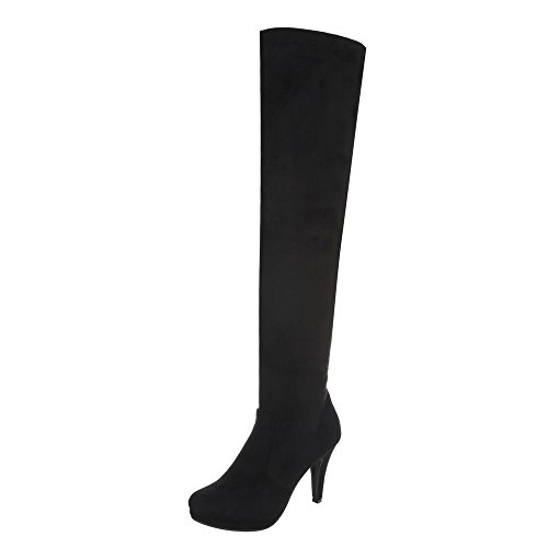 Typ 0 Kostüm - Ital-Design Overknees Damen-Schuhe Overknees Pfennig-/Stilettoabsatz High