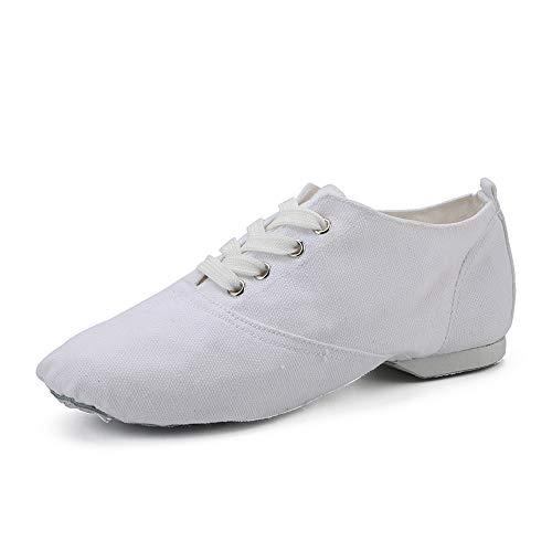 Weiße Jazz Dance Canvas Schnürschuhe spalten Ledersohlen für Mädchen, Frauen, Männer, Kinder (35 EU)