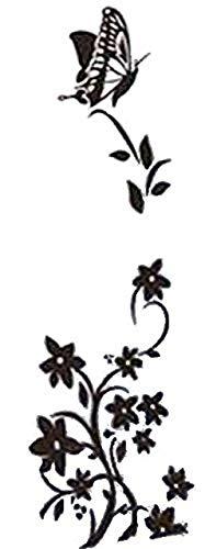 Wandtattoo Blumenranke mit Schmetterling Ranke Flur Wohnzimmer Ornament Schlafzimmer Wandaufkleber Wandsticker(schwarz)