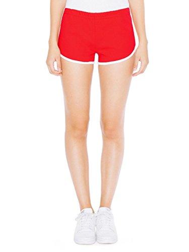 American Apparel Interlock Running Short - Red / White / XS (American Apparel Running Shorts)