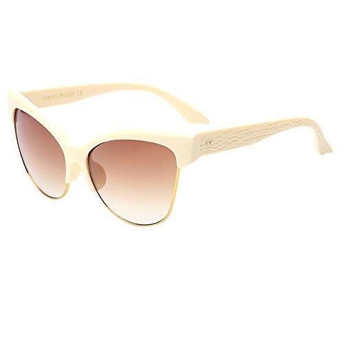 Whycat Sonnenbrille Damen Schwarz Sonnenbrille für Frauen Cateye, Vintage Big Frame Sonnenbrille Retro Eyewear Man Browline Semi-Rimless(C)