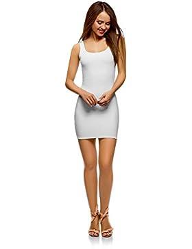 oodji Ultra Mujer Vestido-Camiseta de Tirantes de Punto Ajustado
