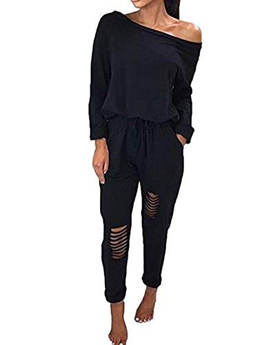 ca097ba25e8eff Jc.kube Langarm Hosenanzug Jumpsuit Damen Elegant Lang Hosen Trägerlos  Bodysuit Overalls