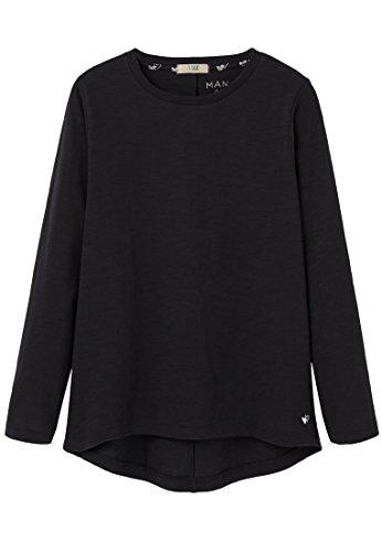 mango-kids-t-shirt-basique-t-shirt-jaspe-taille11-12-ans-couleurnoir