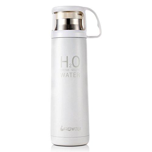 Aliciashouse 500ml H2O In acciaio inox Thermos tazza inverno Vacuum Flask Travel Mug - bianco