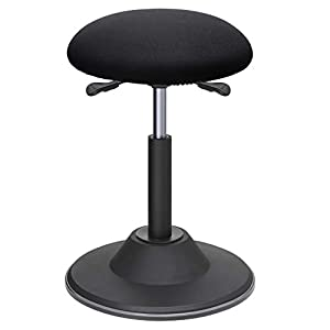 SONGMICS hÖhenverstellbare BÜrohocker, ergonomischer Arbeitshocker, um 360°drehbarer hocker, SitzhÖhe 50-70 cm, mit Anti-Rutsch-Bodenring, OSC01BK