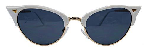seltenes 50er 60er Jahre Brillengestell Cateye Nerdbrille Sonnenbrille Vintage Fashion Halbrahmen Klarglas Rock´n´Roll Modebrille TC89 (Sonnenbrille/Weiss)