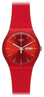Swatch Red Rebel SUOR701 - Reloj de Caballero de Cuarzo, Correa de plástico Color Rojo de Swatch