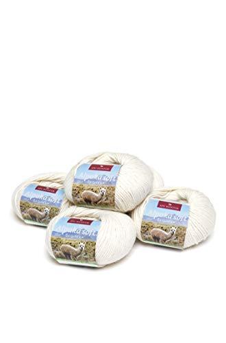 APU KUNTUR 100% Alpaka Wolle | Strick-Häkel-Garn weich, warm und kratzfrei | 5er Vorteilspack | 100m, Nadel 4,5 | wunderschöne Farben zum angenehmen Stricken und häkeln | Natur Ecru wollweiss -