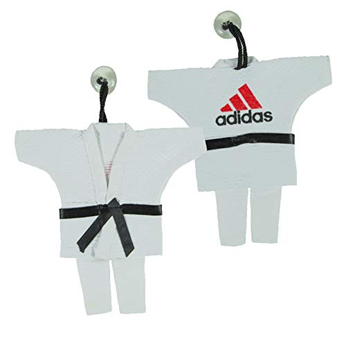 adidas Mini Karate Anzug 16 cm Jacke Deko Anhänger Schlüsselanhänger weiß Karatejacke Karateanzug klein Geschenk Idee Judo Gi Taekwondo Ju Jutsu Tae Kwon Do BUDO Kampfsport ... -