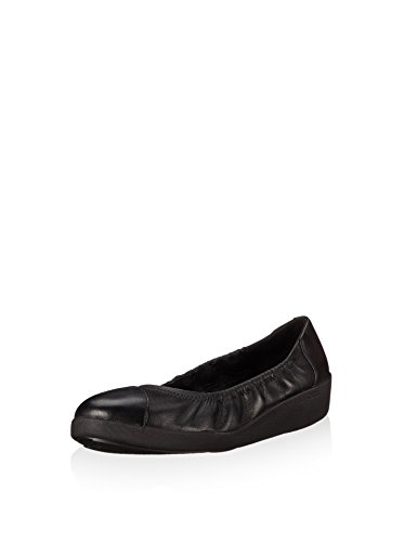FitFlop Damen F-Pop Ballerina Leather Ballerinas, Schwarz Schwarz