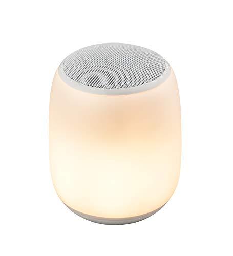 Lámpara de mesita de noche, Altavoz inalámbrico portátil con luz nocturna, Control táctil y batería de 4000 mAh, Regulable Luz blanca cálida y Cambio de color Modos RGB, Soporte TF y Tarjeta SD