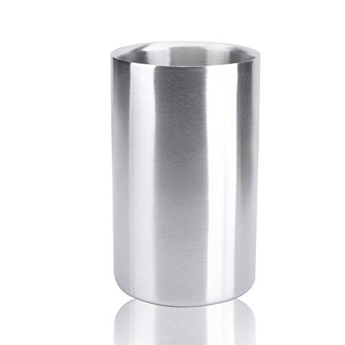 NgFTG Doppelwandiger Mattiert Eiseimer, Edelstahl Champagner Eimer, Wein Gebürstet Eisbehälter, Isolierung Tragbar Rostet Nicht-Silber 1.2l