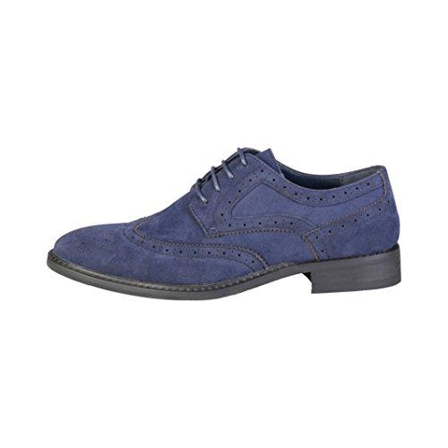 Pierre Cardin Hombre GR5010 Azul Cuero Zapatos Derby Cordones 9 UK