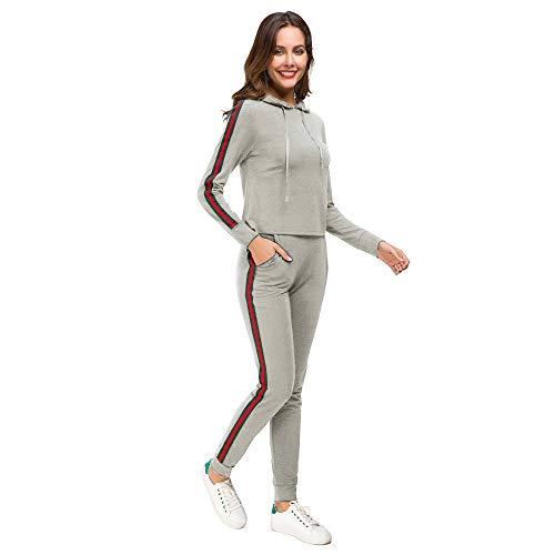 Grau Sweatsuit (Unifizz Frauen 2-teiliges Outfit Set Sport Hoodies Tops und Jogger Lange Hosen Kausale Sweatsuits Trainingsanzüge Grau S)