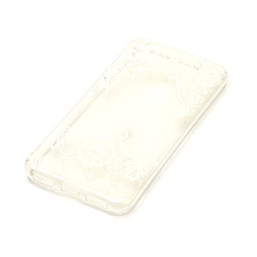 Pour Huawei P8 Lite Coque, Meet de Étui TPU Silicone Souple Coque Clair Transparent Cover Ultra Mince Gel Doux Soft Case Housse de Protection Coque Étui Huawei P8 Lite–Dessin Fleur en diagonale Fleur en diagonale
