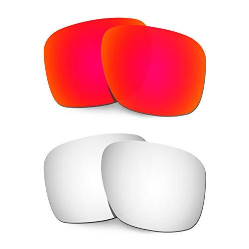 HKUCO Verstärken Ersatz-Brillengläser für Oakley Holbrook XL OO9417 Rot/Titan Sonnenbrille