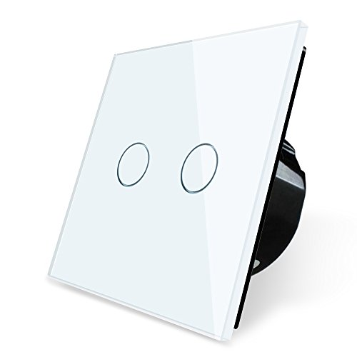 Wallpad 2 Gang 2 Way Capacitive White Glass Touch Sensor 1-200w Light Switch (Wire 3-way Switch Light)