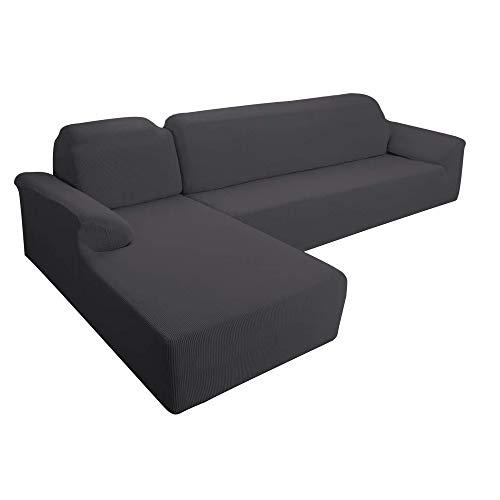 E EBETA Ecksofahusse Sofabezug, Sofaüberwürfe für L-Form Elastische Stretch 2er Set für 3 Sitzer + 3 Sitzer Ecksofa Links (Dunkelgrau)