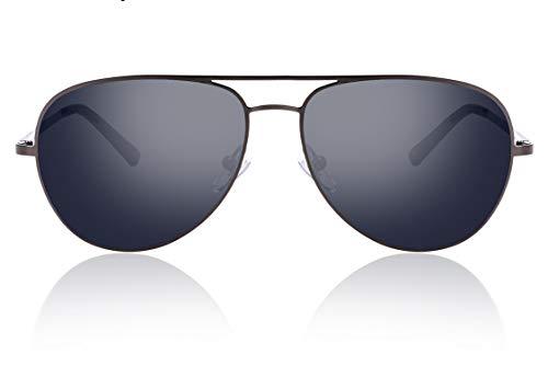fawova Piloten Sonnenbrille Herren Nylon Non Polarisierte, HD Nylon Pilotenbrille Herren, UV400, Cat.3, CE 57mm (Grau, Grau)
