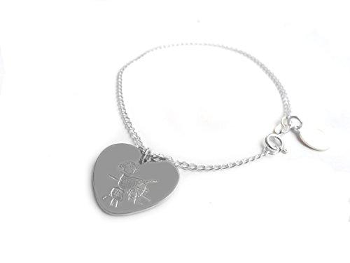 Personalisierte, von Kid drawing- Maßgeschneiderte Anhänger Herz groß Sterling Silber 925, 55cm Kette Halskette Design by Dags