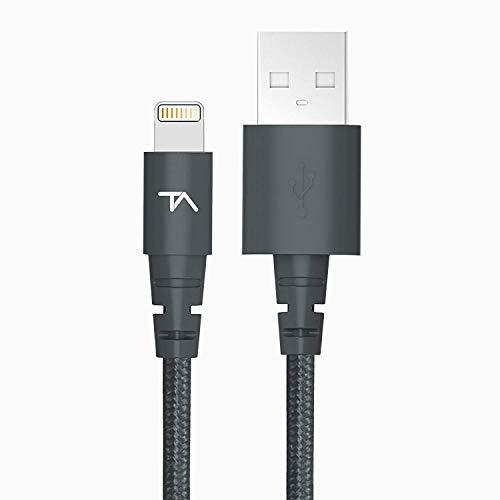 Tech Armor   Cable Lightning de datos y carga para iPhone/iPad   Certificado por Apple   Trenzado   Space grey   1,83 m