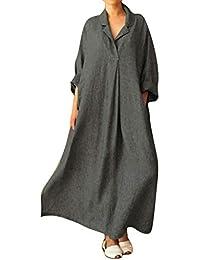 c516d8b3c92e0 Jacansi Women V Neck Long Sleeve Casual Kaftan Shirt Long Dress with  Pockets UK 6-