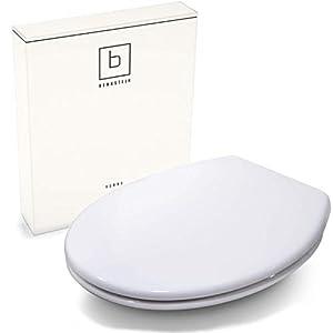 Benkstein Premium Toilettendeckel Oval Klodeckel mit Quick-Release-Funktion und Softclose Absenkautomatik. Antibakterielle Klobrille aus Duroplast und rostfreiem Edelstahl abnehmbar. WC-Deckel