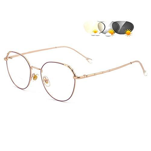 Eyetary Leichte bifokale Lesebrille Sonnenbrille - Übergang photochrome Leserinnen Frauen, Anti Glare Objektiv/Vergrößerung 1,00 bis 4,00 Stärke,GoldFrame&Orchid,+3.5