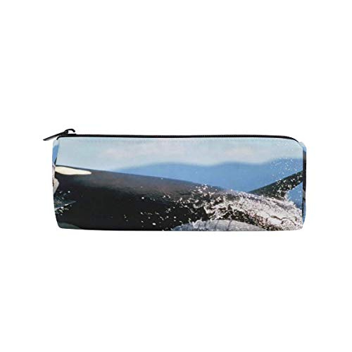 Pencil Case Black Whale Out of Water School Pen Pouch Office Zippered Pencil Cases Holder Women Makeup Bag