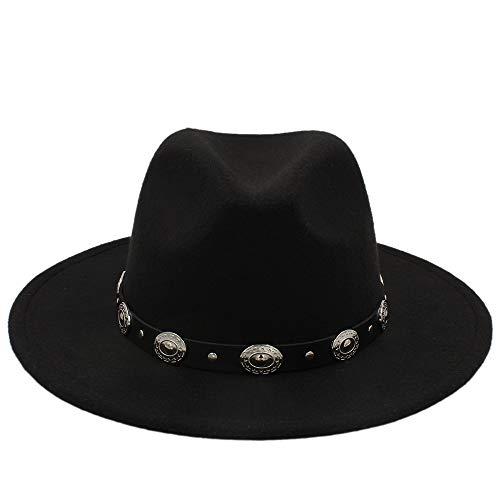 lig Unisex Wolle Jazz Hüte Herren Fedorahut Frauen Filzhut Cowboy Panama Hüte Für Frauen Derby Fedoras (Farbe : Schwarz, Größe : 56-58cm) ()
