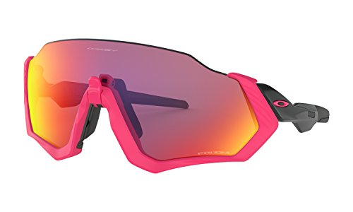 Oakley Flight Jacket Neon Pink Polished Black Prizm Road - Sonnenbrille Damen Oakley Laufen