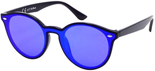 La Optica B.L.M. UV400 CAT 3 CE Damen Frauen Sonnenbrille Rund Round Monoscheibe - Einzelpack Glänzend Schwarz (Gläser: Blau verspiegelt)